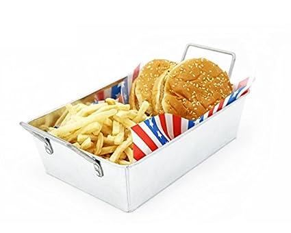 Mannily 2pcs Metal Fry Bandeja con Asas Rectangular Cesta de la freidora Frito Chip Alimentos,