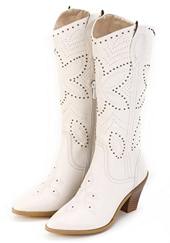 White Cowboy Boots For Wedding (ANN CREEK Women's 'Hornsby' White Studded Western)