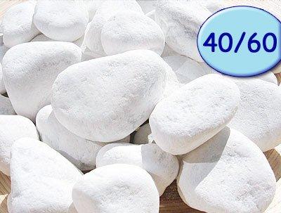 Carrara Zierkies Garten weiß gerundet 5 verschiedene Körnungen wählbar (40/60mm)
