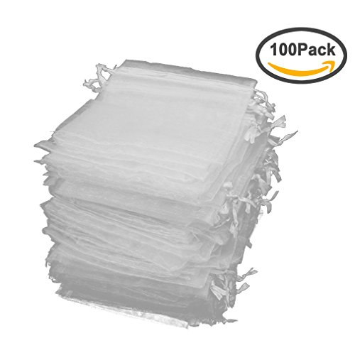 Jaciya 100 Pack Organza Gift Bags White Wedding Party Favor Bags Jewelry Pouches Wrap (4 x 4.72 (Wedding Favor Supplies)