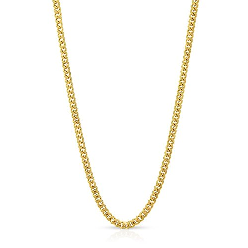 10k Yellow Gold 1.5mm Solid Miami Cuban Curb Link Thick Necklace Chain 16'' - 30'' (18) by In Style Designz