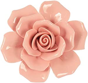 "Insiswiner Handcrafted Ceramic Flowers Sculpture Home Hanging 3D Wall Art Decor Decoration (Pink Rose 2.8"")"