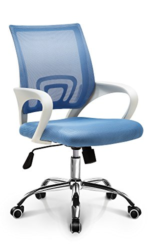 Home Computer Chair: Sky Blue Mesh Mid-Back Ergonomic Fashionable Swivel Tilt, Neo Chair (Chair Office Blue)