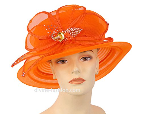 Ms. Divine Collection Womens Wide Brim Derby, Church Hat, Dressy Formal Hats #80562 (Orange) by Ms. Divine Collection