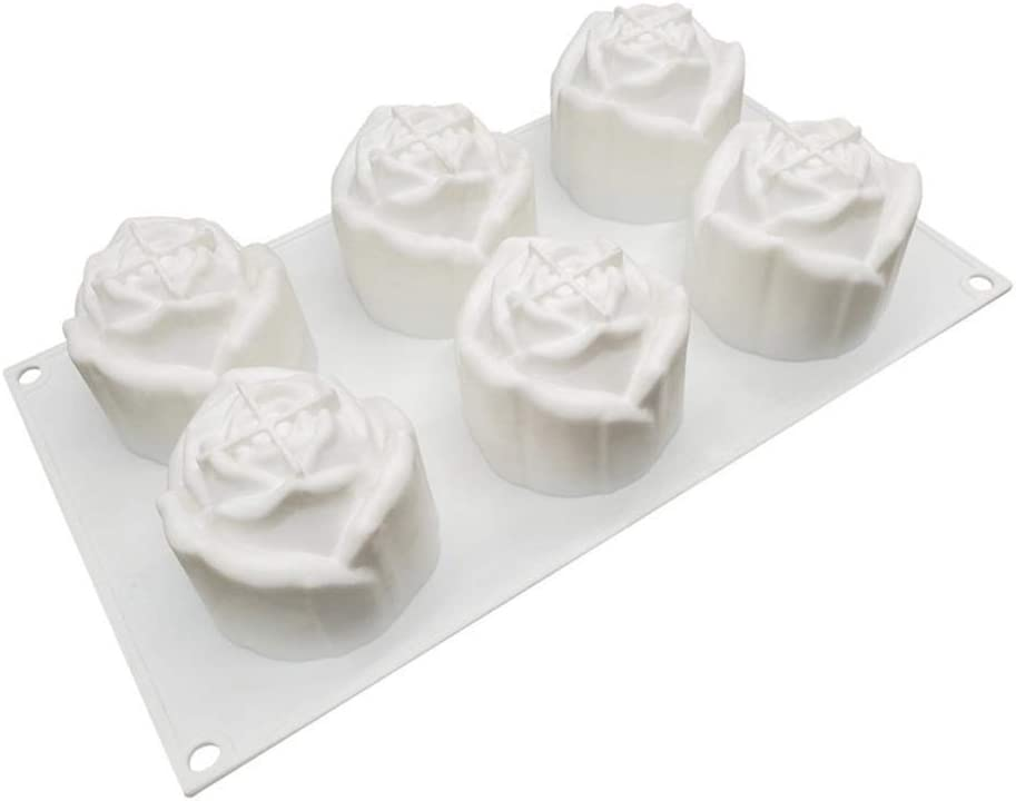 GaLon Silicone Rose Mould for Mousse Cake, Ice Cream, Chocolate, Cheese Cheese, Handmade Soap (Size : Six Roses)