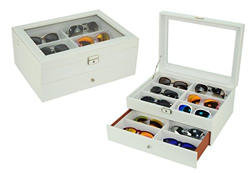 12 Piece Large White Leatherette Eyeglass Sunglass Two Level Glasses Display Case with Drawer Storage Box by TimelyBuys (Image #6)