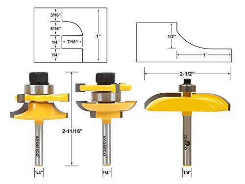 Yonico 12339q Rail and Stile with Panel Raiser Router Bit Set Cove 1/4-Inch Shank, 3-Piece (3 Piece Contractor)