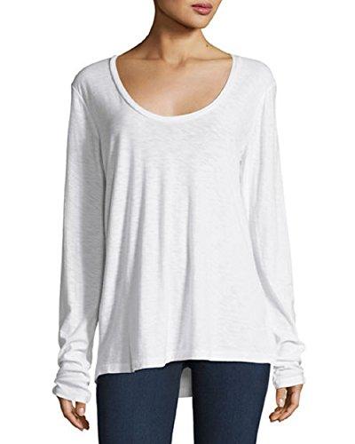 James Perse Women's Long-Sleeve Jersey Tee Shirt White ()