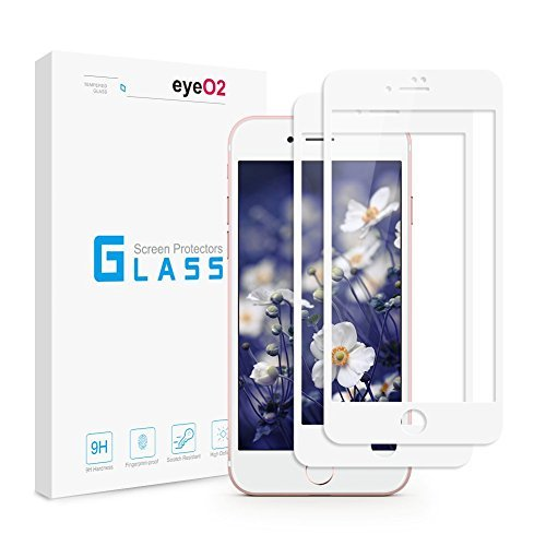 EyeO2 Tempered Glass Screen Protector for iPhone 7 9H Hardness White Full Coverage Screen Guard for iPhone 7 4.7 inches Anti-scratch & Anti- fingerprint Protective Apple Film Accessories 2 Pack