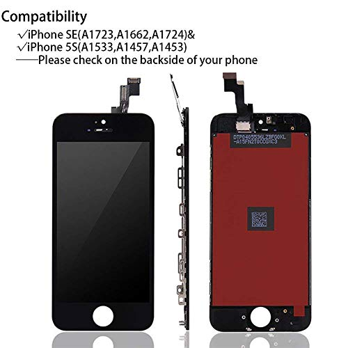 for iPhone SE LCD Display Touch Screen Digitizer Replacement with Repair Kit + Tempered Glass (Black) by QIANZEY666 (Image #1)