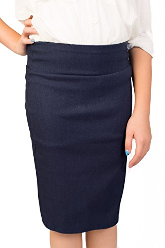 Caldore Girls 7-16 Pencil Skirt (Small, Denim) (Long Denim Skirt Size 8)