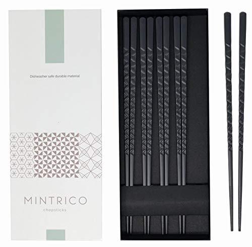 Mintrico Reusable Chopsticks Luxury Japanese Style 5 Pair Set Dishwasher Safe (Zigzag)