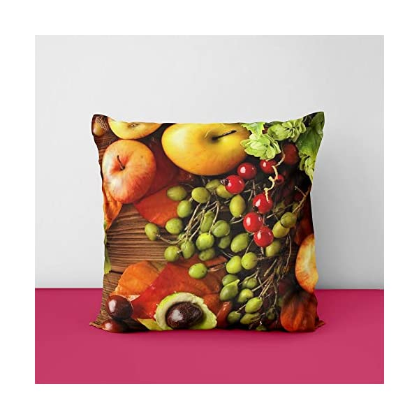 41I3G8hActL Fruits Wood Square Design Printed Cushion Cover