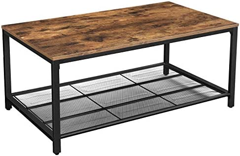 VASAGLE INDESTIC Coffee Table, Living Room Table with Dense Mesh Shelf, Large Storage Space, Cocktail Table, Easy Assembly, Stable, Industrial Design, Rustic Brown