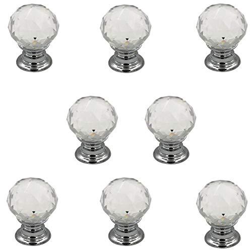 Jingyi E-commerce 8 Pcs Crystal Ball Cabinet Drawer Mini Metal Jewelry Box Gift Case Knobs Single Hole Pull Handles