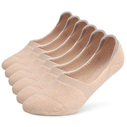 Leotruny 6 Pairs Women's Thick Cushion Athletic Cotton Non Slip Low Cut Falt Liner No Show Socks (Women shoe size:8.5-11, C05-Beige)