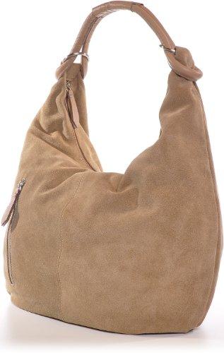 Damen Handtaschen, Hobo-Bags, Schultertaschen, Beutel, Beuteltaschen, Trend-Bags, Velours, Veloursleder, Wildleder, Leder Tasche, DIN-A4, 44x36x4cm (B x H x T), Farbe:Gelb (Senf) CNTMP