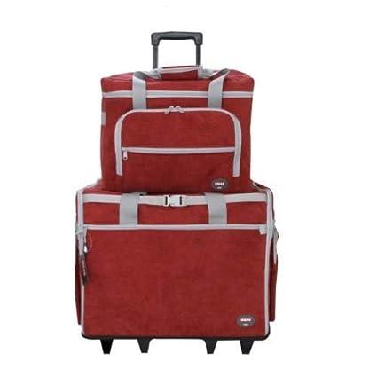 Maleta trolley Roja con clasificadores para máquina de coser con departamentos para accesorios