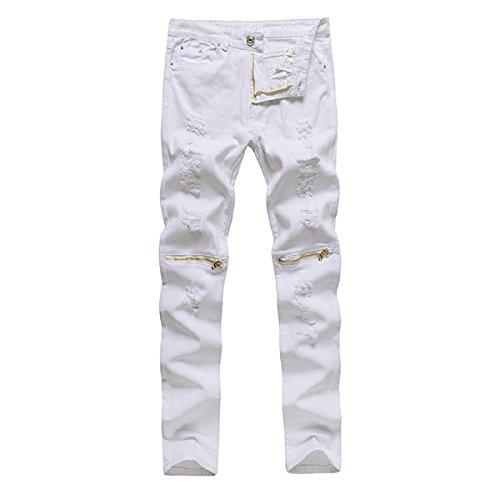 Alamor Herren Punk Stil Ripped Jeans Skinny Bleistift Hosen Hose Knie Hose 4 Farben-Weiß 2-30