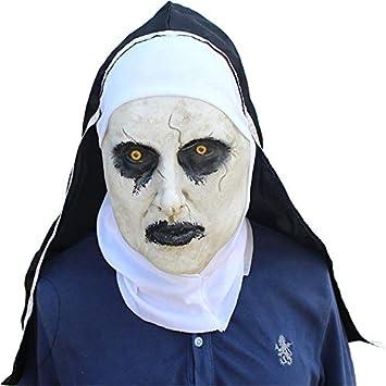 WSLG Monja Terrorista Scary Zombie Bloody Cráneo Máscara Traje De Halloween Máscara De Fiesta Horror Latex