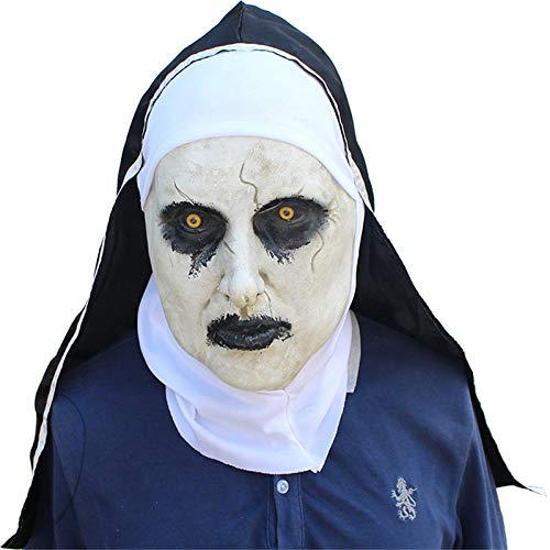 Terrorist Nun Halloween Creepy Costume Latex Ghostface Mask Costume Props Scary Creepy Horror Mask for Masquerade Halloween -