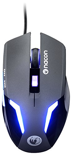 Nacon - Raton Gaming PCGM-105 con Luz Azul, 6 Botones, 800 a 2400 dpi, USB Plug & Play, 1.5 M (PC)