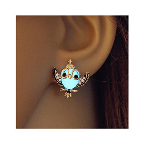Owl Glowing Stud Earrings Steampunk Jewelry Blue Green