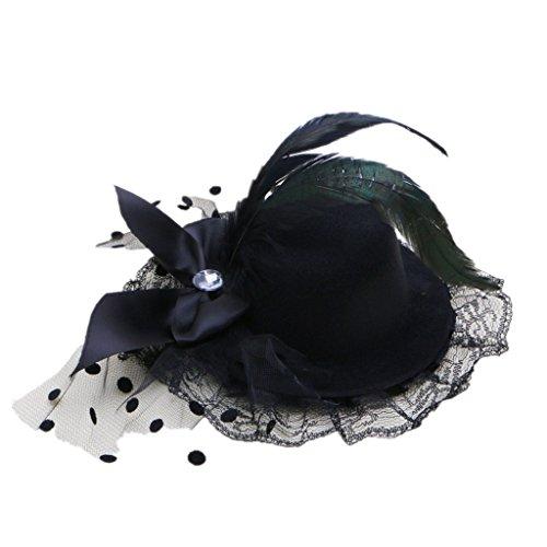 Kocome Bow Hair Clip Lace Feather Mini Top Hat Fascinator Burlesque Party Fancy Dress (Black) - Top Hats Fancy Dress