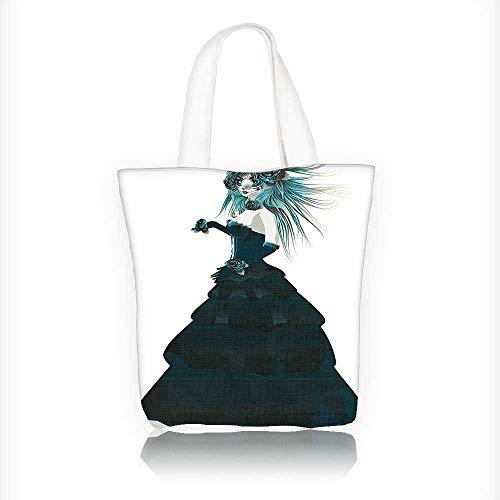 (Ladies canvas tote bag Sugar Skull Girl with Prom Dress Roses in Halloween reusable shopping bag zipper handbag Print Design W11xH11xD3)