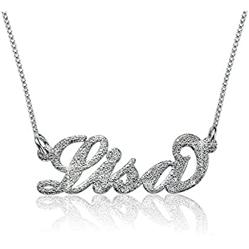 ee77ce3429472 Amazon.com: Sparkling Diamond-Cut Sterling Silver Personalized Name ...