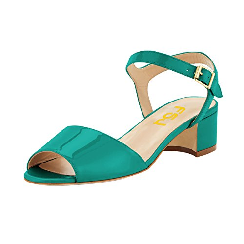 Shoes Dark Strap Ankle Size Women Chunky Peep Comfortable 4 FSJ Toe Walking Heels 15 Low US Green Sandals Summer 1A7fTfgqw