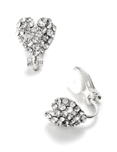 Heart Shaped Clip (Silver Crystal Rhinestone Pave Heart Shaped Clip Earrings)