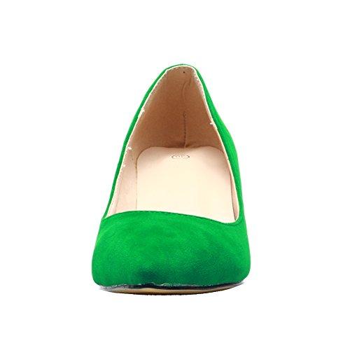 Velvet Faux fereshte Green Kitten Toe Low Classic Pointed Women's Heel Pumps gPgnwq5WEx