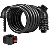 Puroma 5-Digit Combination Bike Cable Lock Mounting Bracket, Resettable Self Coiling Cycling Security Bicycle Locks, 5 Feet x 1/2 inch