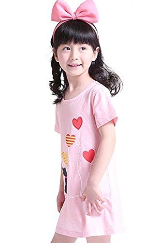 Abalaco Girls Kids Cotton Summer Cartoon Nightgown Sleepwear Dress Pretty Home Dress 3-12T (11-12 Years, Pink heart) by Abalaco (Image #1)
