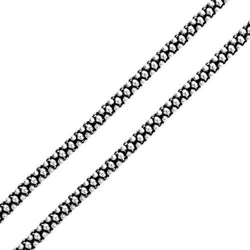 925 Silver Bali Style Popcorn Coreana Chain Necklace 3mm 18in