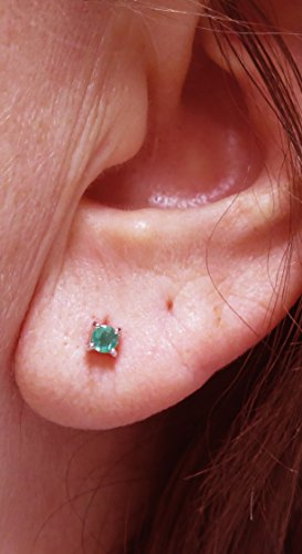 14k-Gold-Round-4-Prong-Genuine-Emerald-Stud-Earrings