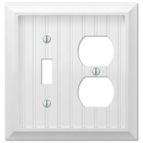 Cottage White Wood Single Toggle Switch and Single Duplex Outlet Wall Plate Cover Combo