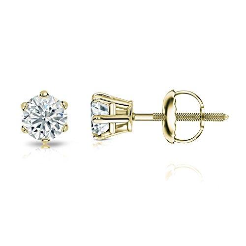 14k Yellow Gold 6-Prong Basket Round Diamond Stud Earrings (0.40 ct, Good, - Prong Gold Diamond