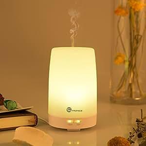 Humidificador Difusor de Aceites Esenciales TaoTronics Aromaterapia, difusor de aroma, Humidificador Ultrasónico de vapor frío 100ml, con Lámpara LED Nocturna, luces de 7 colores