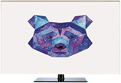 50インチのテレビに適用 テレビカバー 防塵カバー 液晶テレビカバー カバー ディスプレイ クマ 宇宙の多角形の野生動物図手描きの水彩アートワークとギャラクシーパターン装飾 ブルーマゼンタ