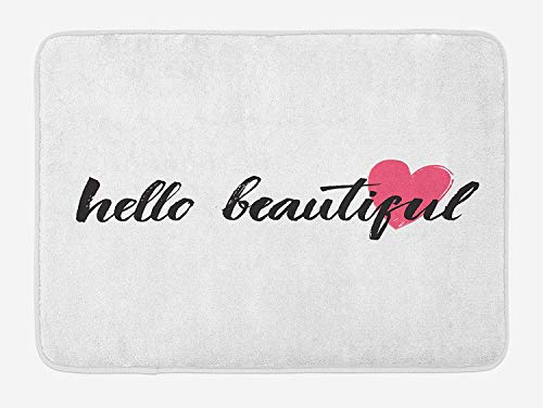 Hello Bath Mat, Calligraphy Motivational Phrase in Black Hand Written Style Font with Pink Heart, Plush Bathroom Decor Mat with Non Slip Backing, 31.5 X 19.7 Inches, Pink Black