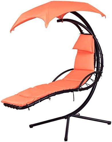 Color naranja para colgar Chaise Lounge Silla Arc hamaca función ...