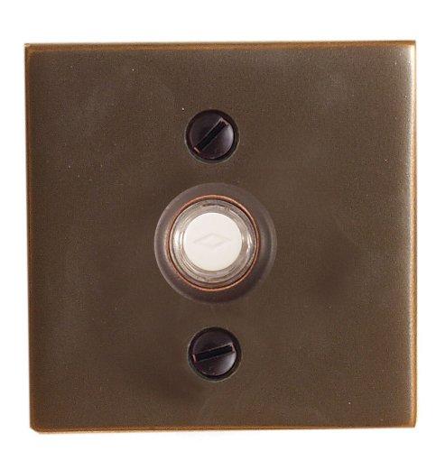 """Emtek 2459 2-1/2"""" Width Square Style Brass Lighted Doorbell Rosette from the Bra, Satin Nickel"""