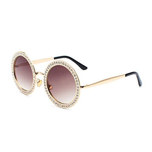métal cadre polycarbonate en strass Brunc1 soleil de lunettes Or en Mesdames Lens rondes Yefree wq80fY
