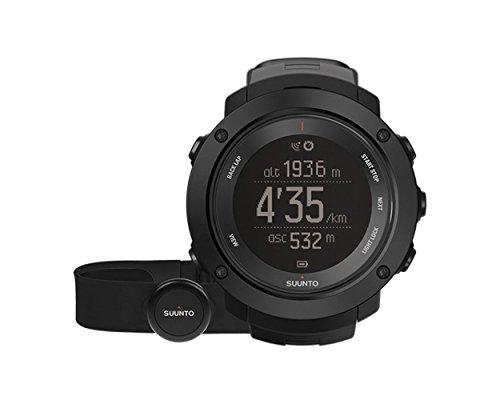 Suunto Ambit3 Vertical Black Digital Display Quartz Watch, Black Silicone Band, Round 50mm Case