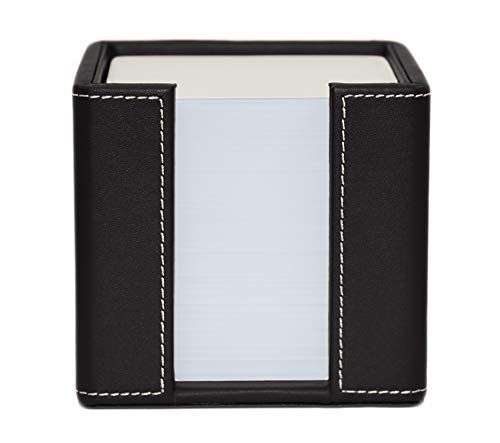 Black Leather Memo Holder - Memo Cube Holder, Black, Faux Leather, Supplied with 1,000 Sheets of Paper
