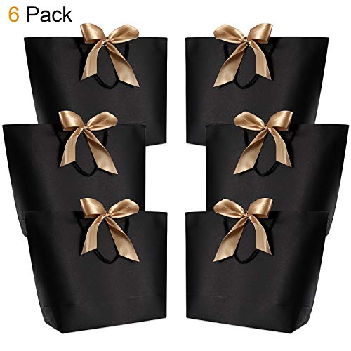 Gift Bags with Handles- WantGor 15.8x11x4.7inch Paper Party Favor Bag Bulk with Bow Ribbon for Birthday Wedding/Bridesmaid Celebration Present Classrooms (Matte Black, Extra Large- 6 Pack)