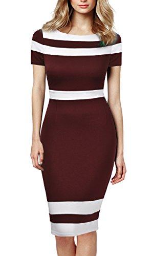 Mmondschein Women's Scoop Neck Optical Illusion Business Bodycon Dress XL Burgundy