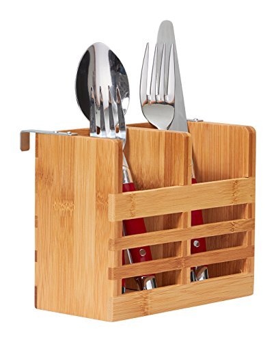 Home Intuition Bamboo Flatware and Utensil Organizer Caddy a